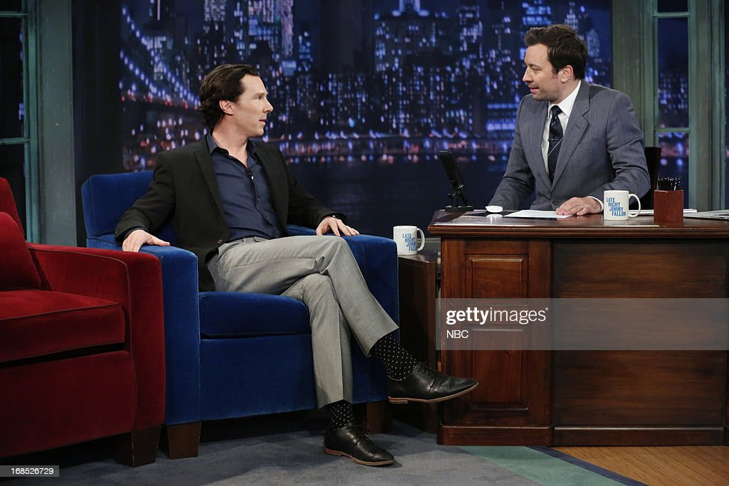 Actor <a gi-track='captionPersonalityLinkClicked' href=/galleries/search?phrase=Benedict+Cumberbatch&family=editorial&specificpeople=2487879 ng-click='$event.stopPropagation()'>Benedict Cumberbatch</a> with host Jimmy Fallon during an interview on May 10, 2013 --