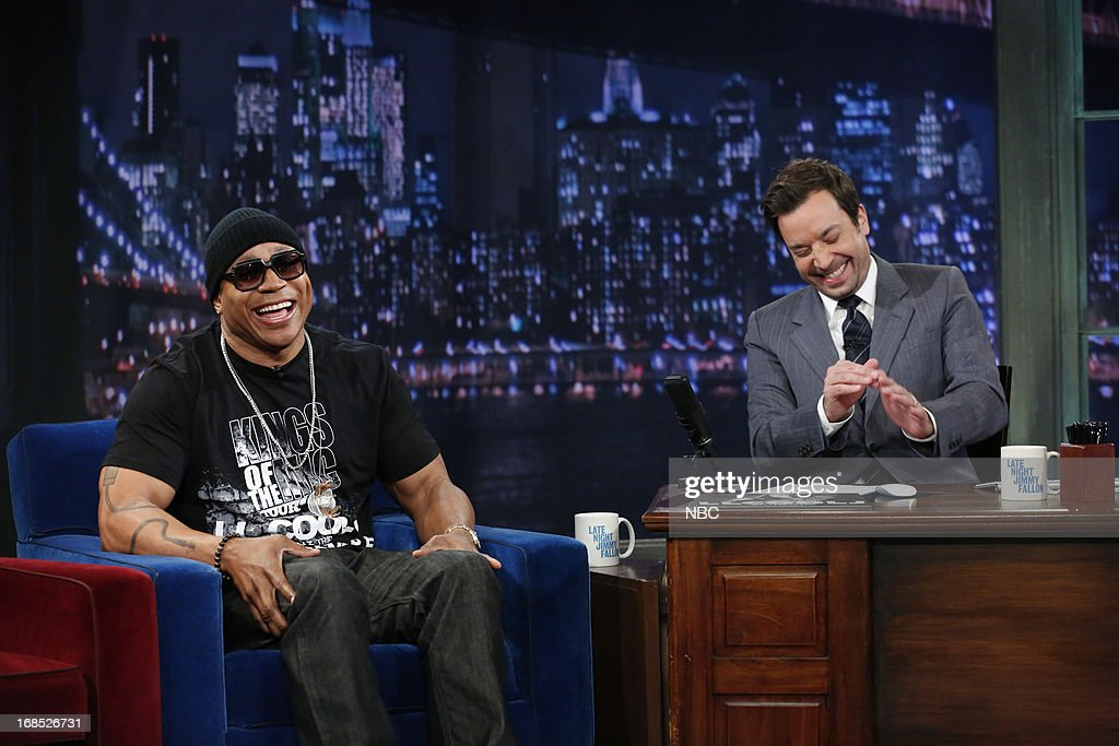 Rapper/actor <a gi-track='captionPersonalityLinkClicked' href=/galleries/search?phrase=LL+Cool+J&family=editorial&specificpeople=201567 ng-click='$event.stopPropagation()'>LL Cool J</a> with host Jimmy Fallon during an interview on May 10, 2013 --