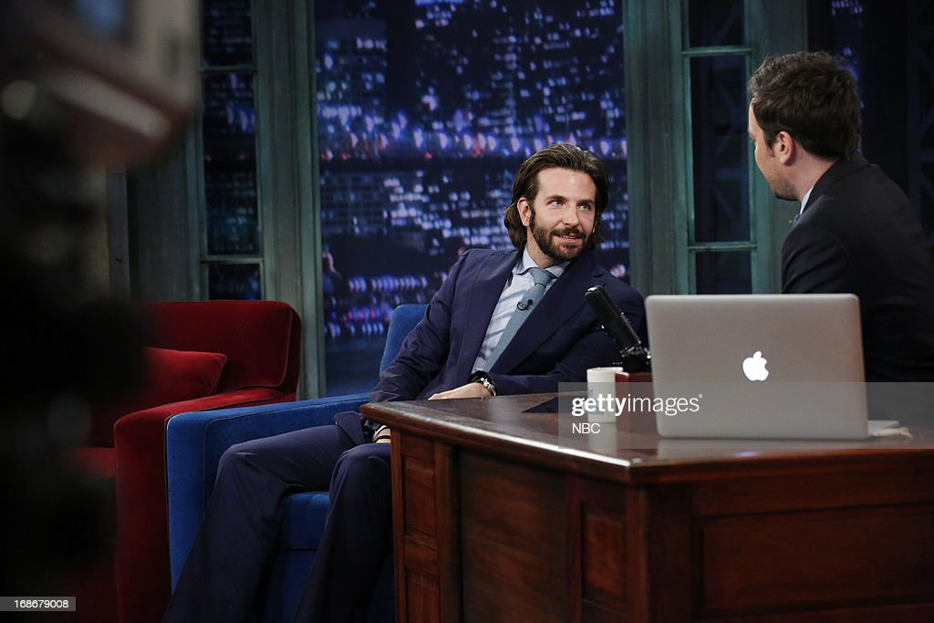 <a gi-track='captionPersonalityLinkClicked' href=/galleries/search?phrase=Bradley+Cooper&family=editorial&specificpeople=680224 ng-click='$event.stopPropagation()'>Bradley Cooper</a> with host Jimmy Fallon during an interview on May 13, 2013 --