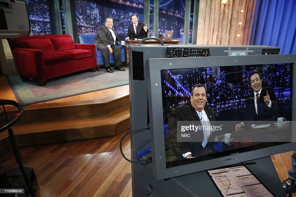 Governor <a gi-track='captionPersonalityLinkClicked' href=/galleries/search?phrase=Chris+Christie&family=editorial&specificpeople=6480114 ng-click='$event.stopPropagation()'>Chris Christie</a> with host Jimmy Fallon during an interview on June 12, 2013 --