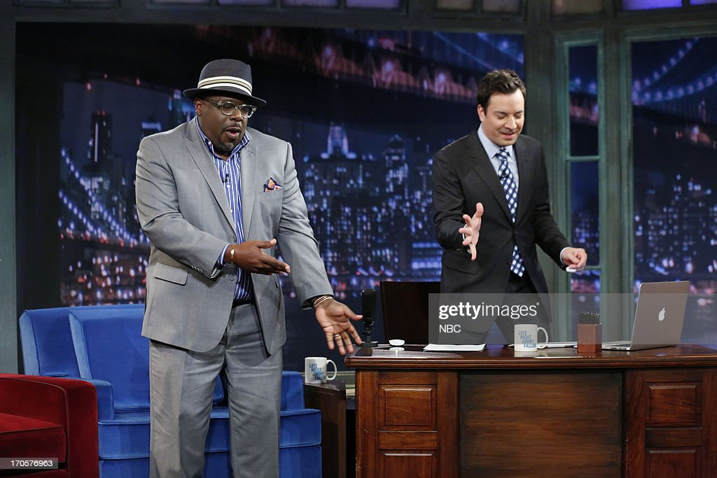 Comedian/actor Cedric the Entertainer with host Jimmy Fallon during an interview on June 14, 2013 --
