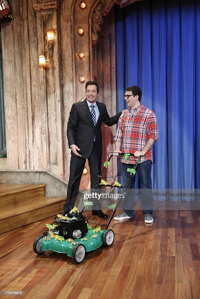 Host Jimmy Fallon, Arthur Meyers during a 'Bieber re-tweet' skit on June 14, 2013 --