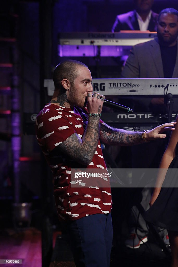 <a gi-track='captionPersonalityLinkClicked' href=/galleries/search?phrase=Mac+Miller&family=editorial&specificpeople=8662273 ng-click='$event.stopPropagation()'>Mac Miller</a> featured with musical guest Ariana Grande performs on June 14, 2013 --