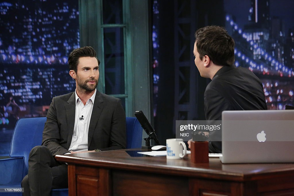 Singer Adam Levine with host Jimmy Fallon during an interview on June 14, 2013 --