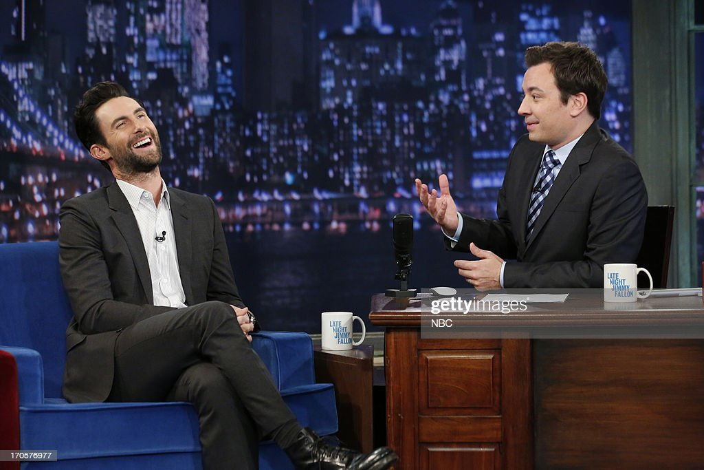 Singer <a gi-track='captionPersonalityLinkClicked' href=/galleries/search?phrase=Adam+Levine+-+Singer&family=editorial&specificpeople=202962 ng-click='$event.stopPropagation()'>Adam Levine</a> with host Jimmy Fallon during an interview on June 14, 2013 --