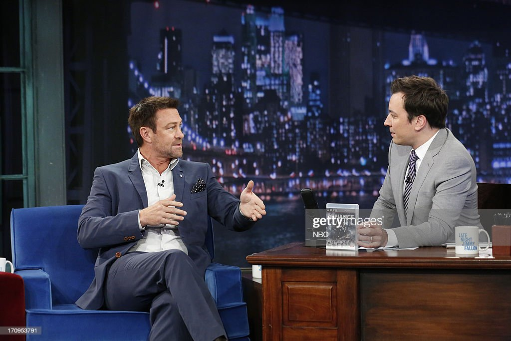 Grant Bowler with host Jimmy Fallon during an interview on June 20, 2013 --