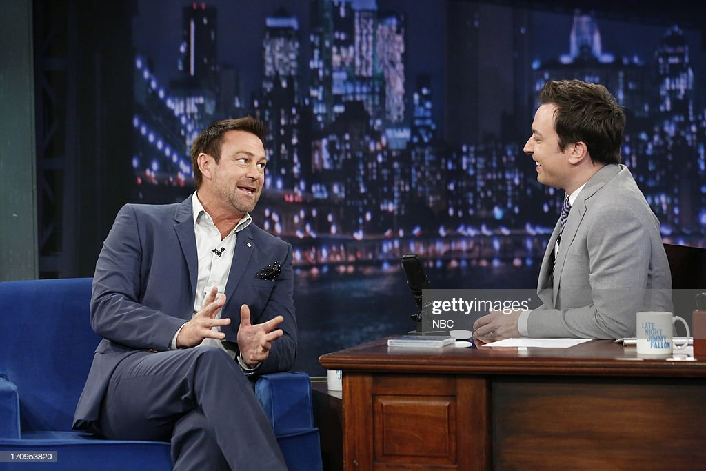<a gi-track='captionPersonalityLinkClicked' href=/galleries/search?phrase=Grant+Bowler&family=editorial&specificpeople=453292 ng-click='$event.stopPropagation()'>Grant Bowler</a> with host Jimmy Fallon during an interview on June 20, 2013 --
