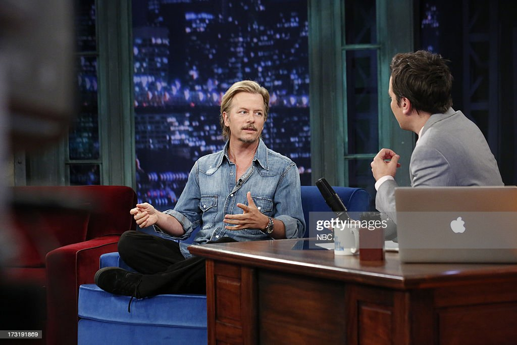 Actor/comedian <a gi-track='captionPersonalityLinkClicked' href=/galleries/search?phrase=David+Spade&family=editorial&specificpeople=209074 ng-click='$event.stopPropagation()'>David Spade</a> with host Jimmy Fallon during an interview on July 9, 2013 --
