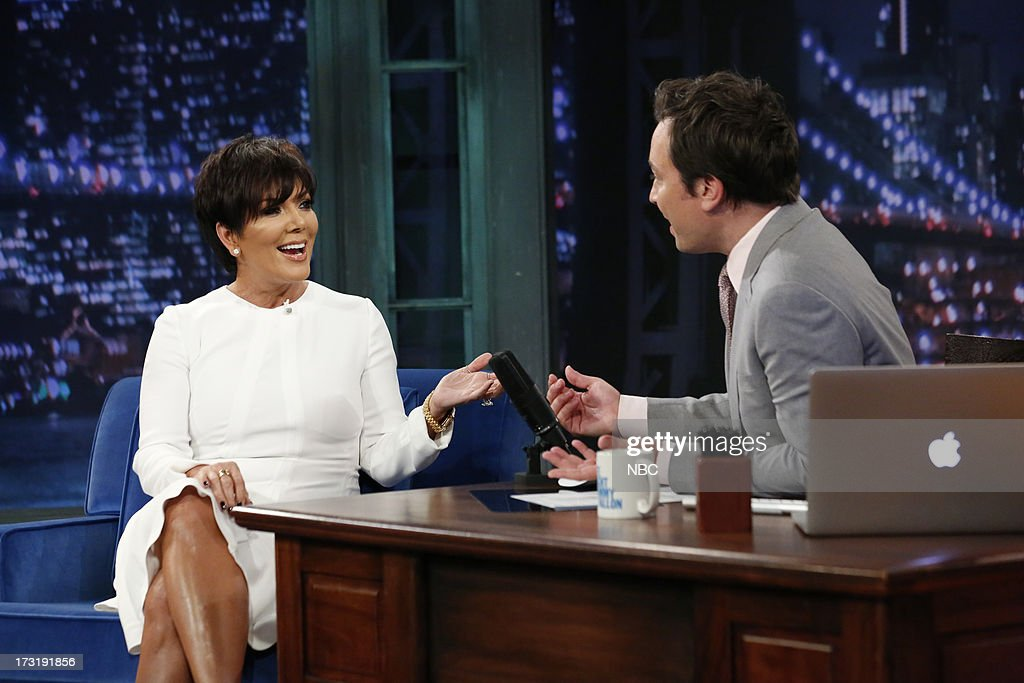 Reality star <a gi-track='captionPersonalityLinkClicked' href=/galleries/search?phrase=Kris+Jenner&family=editorial&specificpeople=762610 ng-click='$event.stopPropagation()'>Kris Jenner</a> with host Jimmy Fallon during an interview on July 9, 2013 --