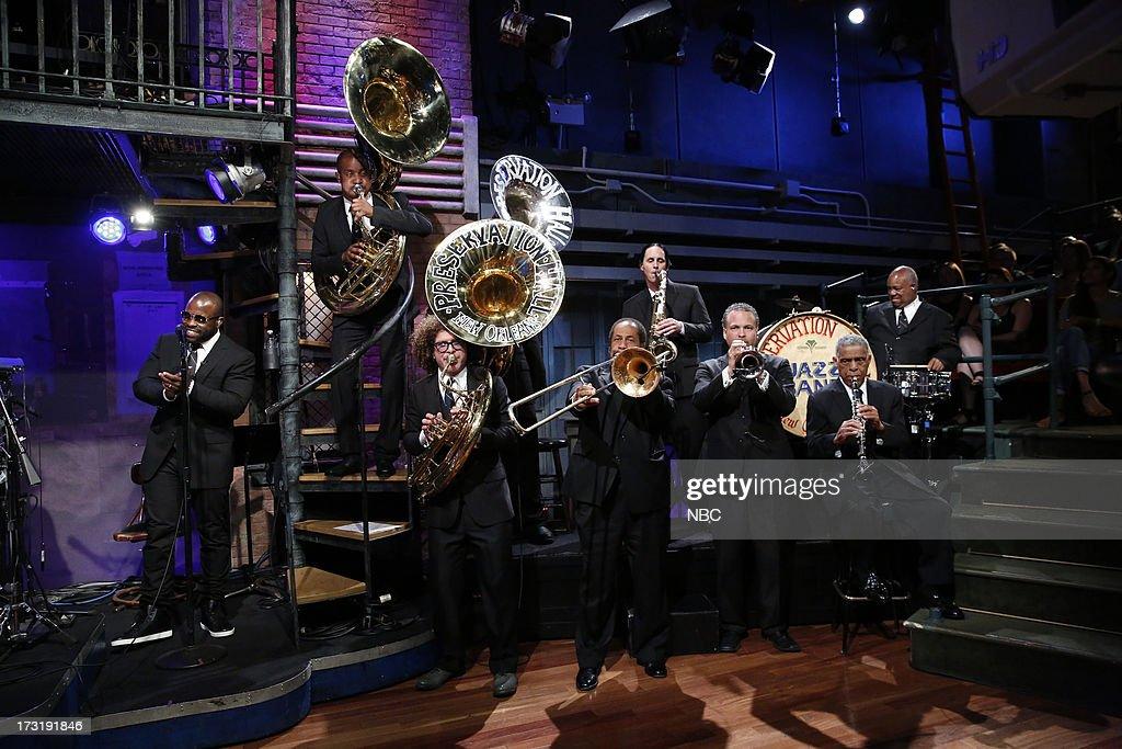 The Roots' Black Thought, Preservation Hall Jazz Band's Ronell Johnson, Ben Jaffe, Freddie Lonzo, Clint Maedgen, Mark Braud, Charlie Gabriel, Joseph Lastie, Jr. on July 9, 2013 --