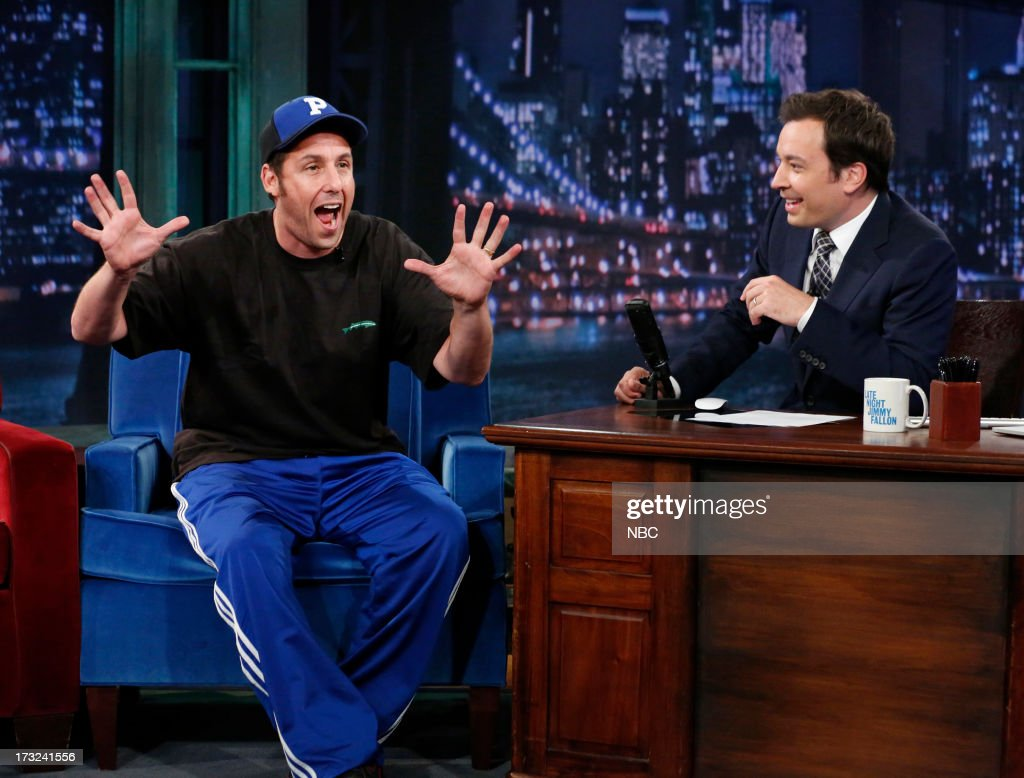 <a gi-track='captionPersonalityLinkClicked' href=/galleries/search?phrase=Adam+Sandler&family=editorial&specificpeople=202205 ng-click='$event.stopPropagation()'>Adam Sandler</a> with host Jimmy Fallon during an interview on July 10, 2013 --