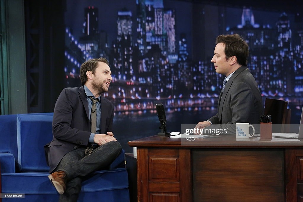 Actor Charlie Day with host Jimmy Fallon during an interview on July 11, 2013 --
