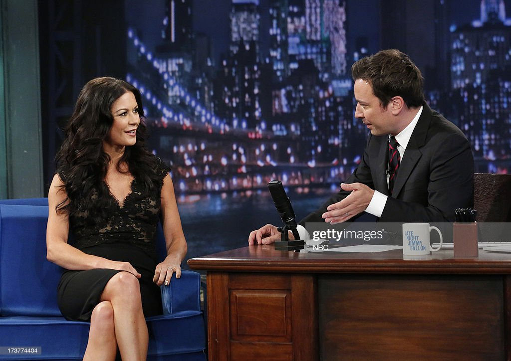 Catherine Zeta-Jones with host Jimmy Fallon during an interview on July 17, 2013 --