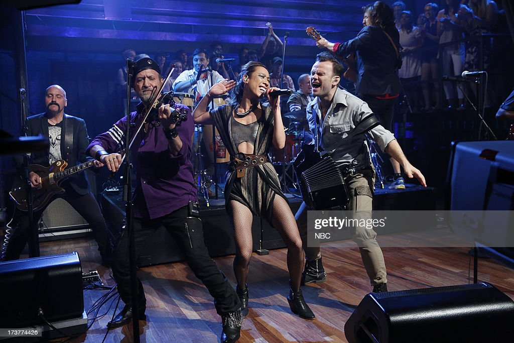 Musical guests Michael Ward, Sergey Ryabtsev, Elizabeth Sun of Gogol Bordello perform on July 17, 2013 --