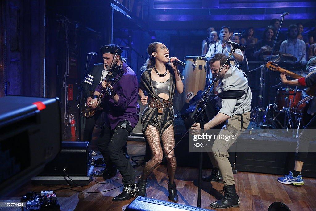Musical guests Sergey Ryabtsev, Elizabeth Sun of Gogol Bordello perform on July 17, 2013 --