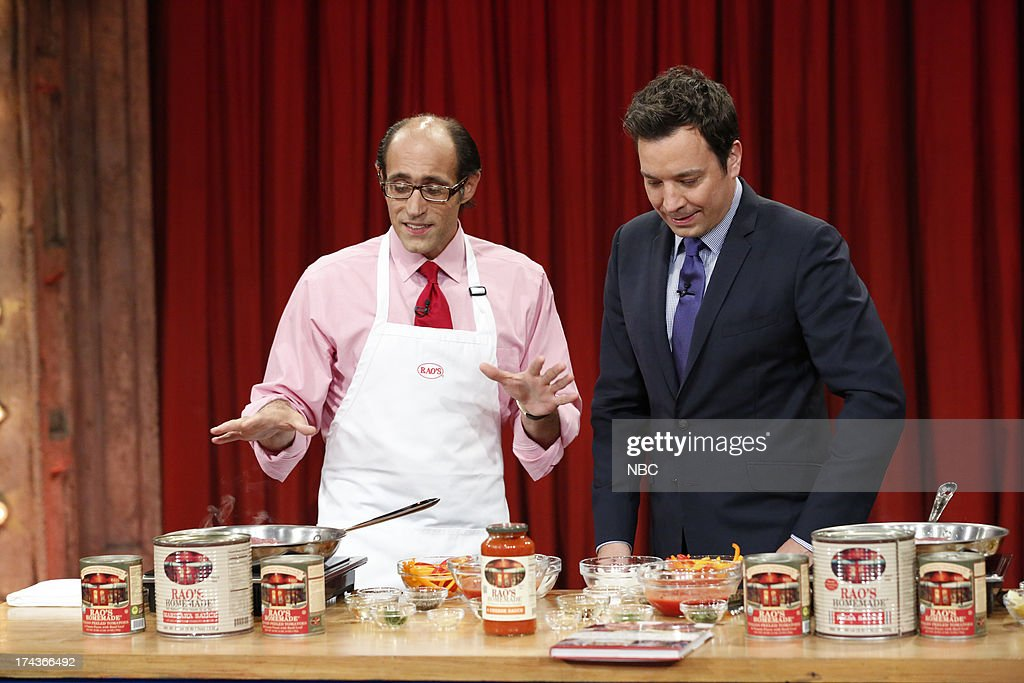 Chef Frank Pellegrino Jr. with host Jimmy Fallon during a cooking demo on July 24, 2013 -- (Photo by: Lloyd Bishop/NBC/NBCU Photo Bank via Getty Images).
