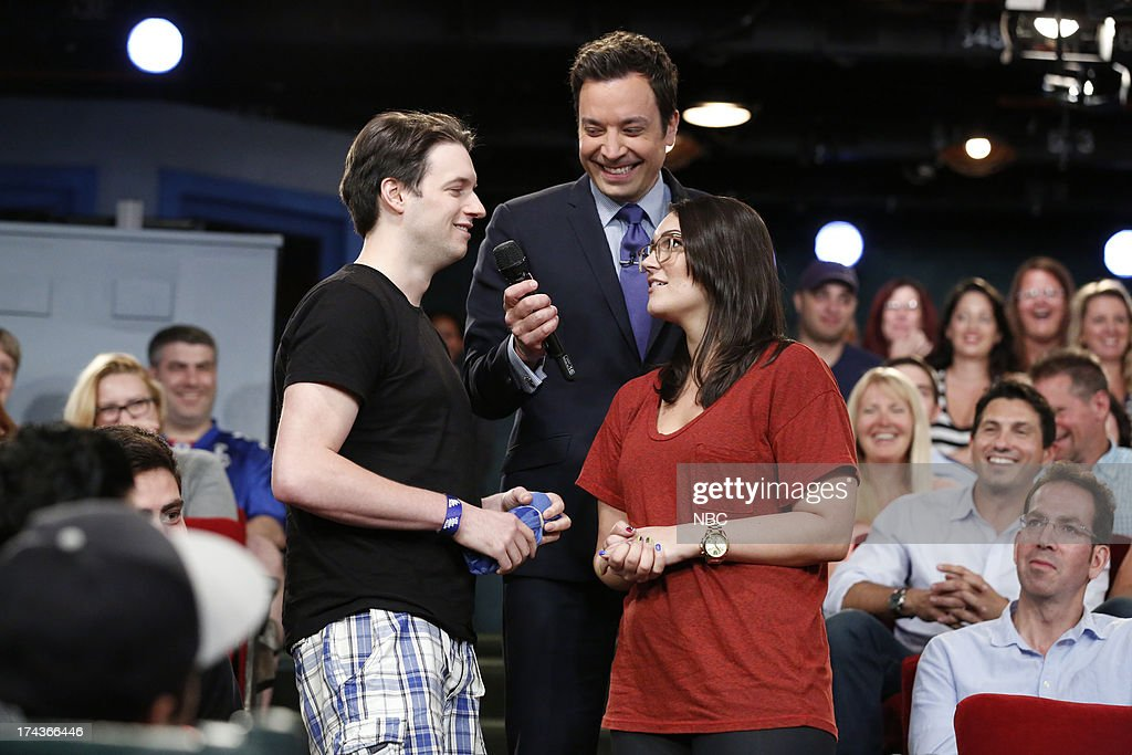 Host Jimmy Fallon with audience members during the 'Audience Got Talent' skit on July 24, 2013 --