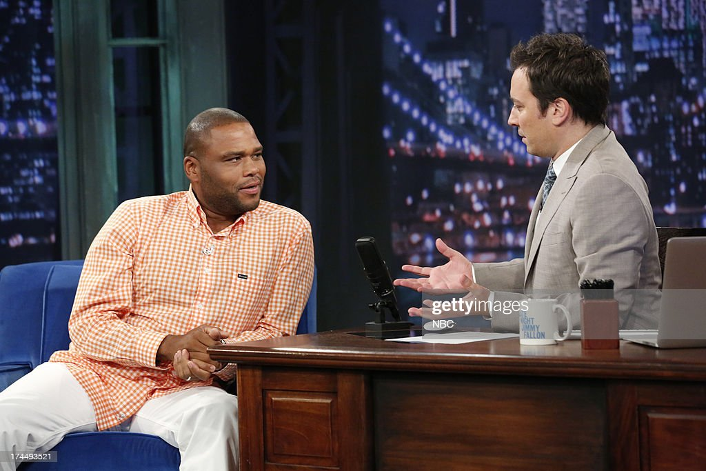 Anthony Anderson with host Jimmy Fallon during an interview on July 26, 2013 --
