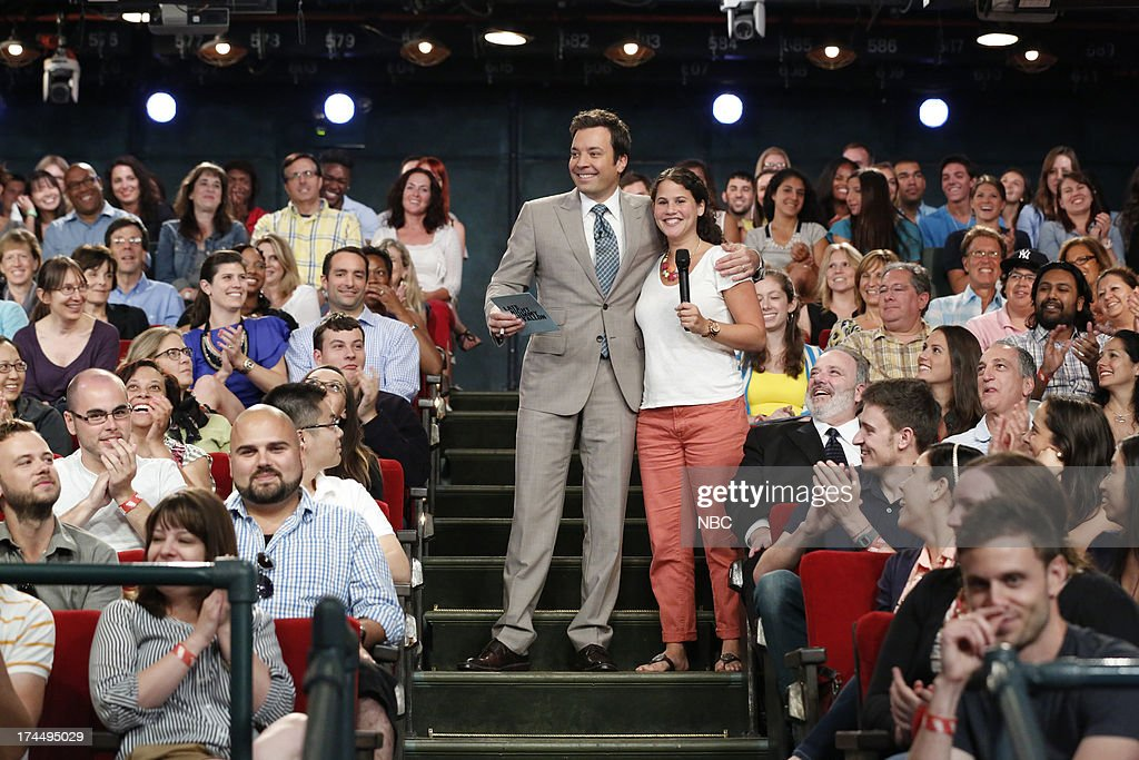 Host Jimmy Fallon with audience member on July 26, 2013 --