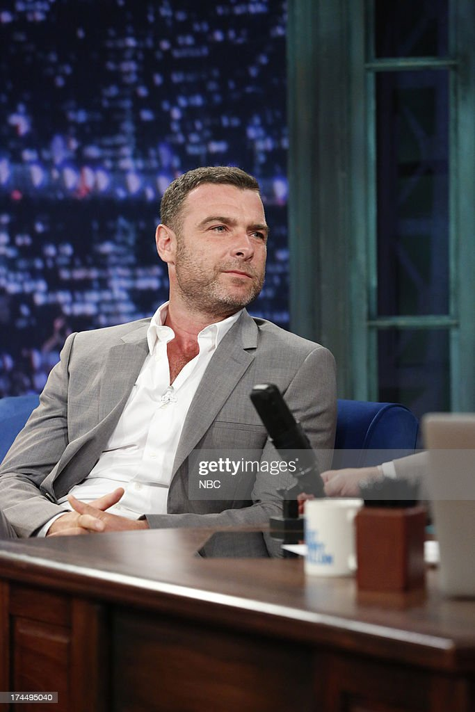 <a gi-track='captionPersonalityLinkClicked' href=/galleries/search?phrase=Liev+Schreiber&family=editorial&specificpeople=203259 ng-click='$event.stopPropagation()'>Liev Schreiber</a> with host Jimmy Fallon during an interview on July 25, 2013 --