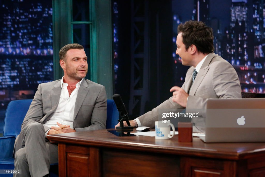 <a gi-track='captionPersonalityLinkClicked' href=/galleries/search?phrase=Liev+Schreiber&family=editorial&specificpeople=203259 ng-click='$event.stopPropagation()'>Liev Schreiber</a> with host Jimmy Fallon during an interview on July 26, 2013 --