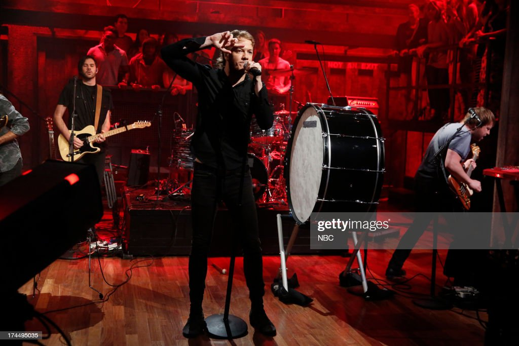 Musical guest Dan Reynolds of Imagine Dragons perform 'Radioactive' on July 26, 2013 --