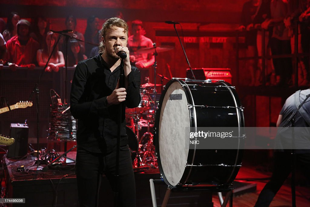 Musical guest <a gi-track='captionPersonalityLinkClicked' href=/galleries/search?phrase=Dan+Reynolds&family=editorial&specificpeople=8995077 ng-click='$event.stopPropagation()'>Dan Reynolds</a> of Imagine Dragons perform 'Radioactive' on July 26, 2013 --