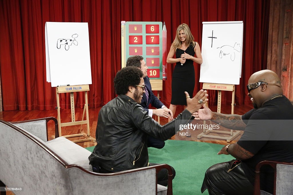Host Jimmy Fallon plays Pictionary with <a gi-track='captionPersonalityLinkClicked' href=/galleries/search?phrase=Lenny+Kravitz&family=editorial&specificpeople=171613 ng-click='$event.stopPropagation()'>Lenny Kravitz</a>, <a gi-track='captionPersonalityLinkClicked' href=/galleries/search?phrase=Jennifer+Aniston&family=editorial&specificpeople=202048 ng-click='$event.stopPropagation()'>Jennifer Aniston</a> and Ceelo Green on August 1, 2013 --
