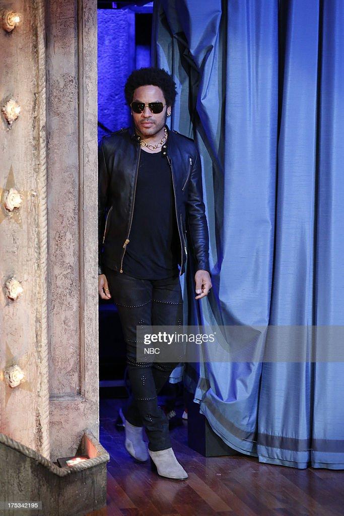 Lenny Kravitz arrives on August 1, 2013 --