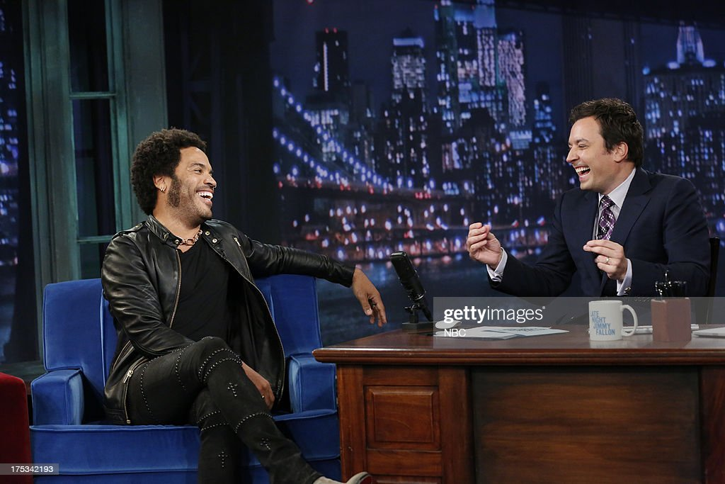 Lenny Kravitz with host Jimmy Fallon during an interview on August 1, 2013 --
