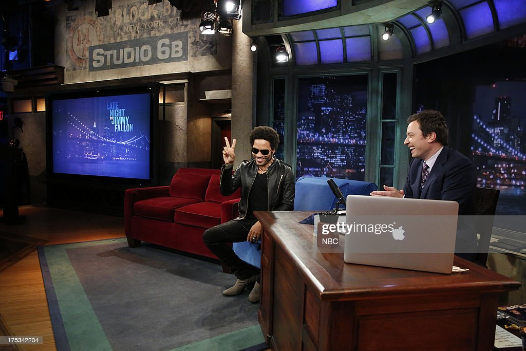 <a gi-track='captionPersonalityLinkClicked' href=/galleries/search?phrase=Lenny+Kravitz&family=editorial&specificpeople=171613 ng-click='$event.stopPropagation()'>Lenny Kravitz</a> with host Jimmy Fallon during an interview on August 1, 2013 --
