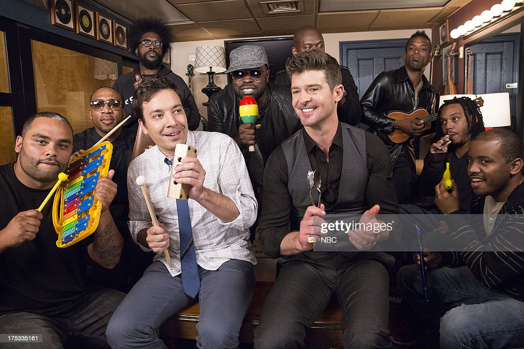 The Roots' Kamal Gray, Frank Knuckles, Questlove, host Jimmy Fallon, The Roots' Black Thought, singer <a gi-track='captionPersonalityLinkClicked' href=/galleries/search?phrase=Robin+Thicke&family=editorial&specificpeople=724390 ng-click='$event.stopPropagation()'>Robin Thicke</a>, The Roots' James Poyser, Captain Kirk Douglas, Mark Kelley, Damon Bryson play 'Blurred Lines' with classroom instruments on August 1, 2013 --