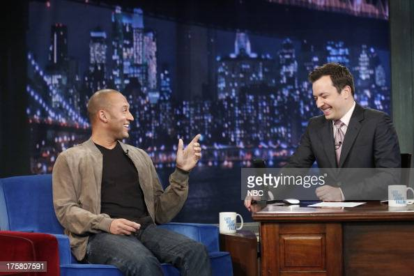 Derek Jeter with host Jimmy Fallon during an interview on August 08 2013