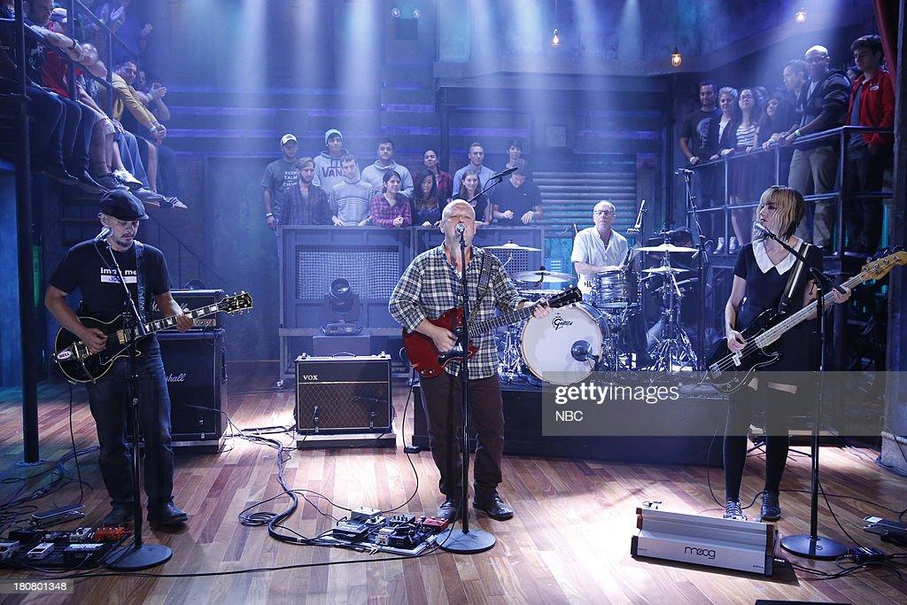 Music guests Joey Santiago Black Francis David Lovering Kim Shattuck of the Pixies perform on September 16 2013
