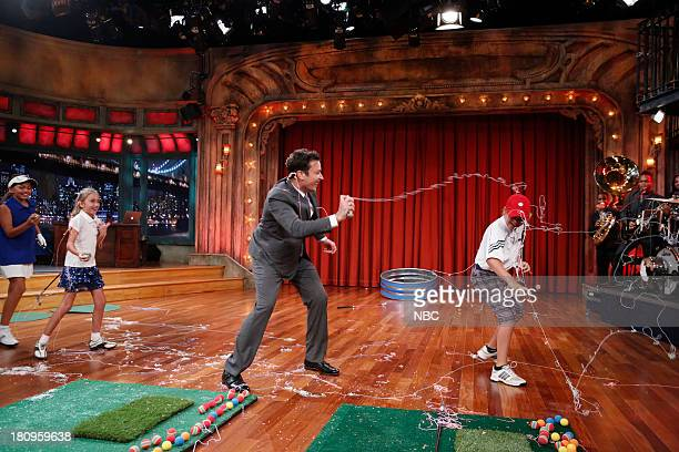 Host Jimmy Fallon has a chipping contest with three young golfers featured in the upcoming documentary 'The Short Game' on September 17 2013
