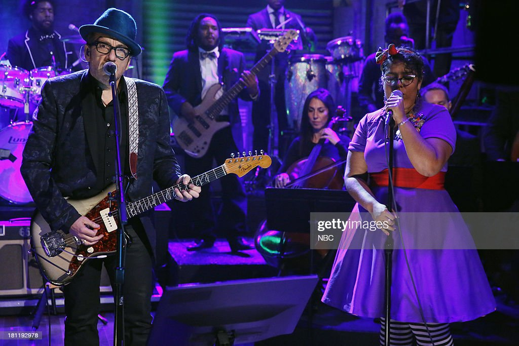 Musical guest <a gi-track='captionPersonalityLinkClicked' href=/galleries/search?phrase=Elvis+Costello&family=editorial&specificpeople=206830 ng-click='$event.stopPropagation()'>Elvis Costello</a> performs on September 19, 2013 --