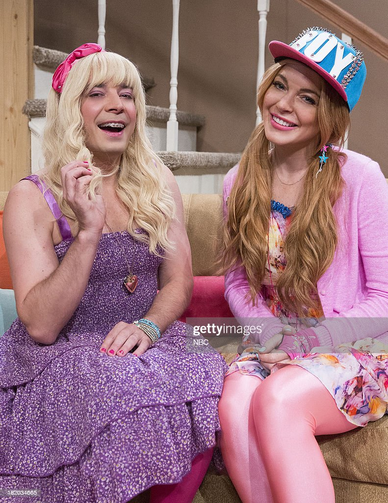 Jimmy Fallon, Lindsay Lohan. Jimmy shows a clip from the Teen Nick show 'Ew.'--