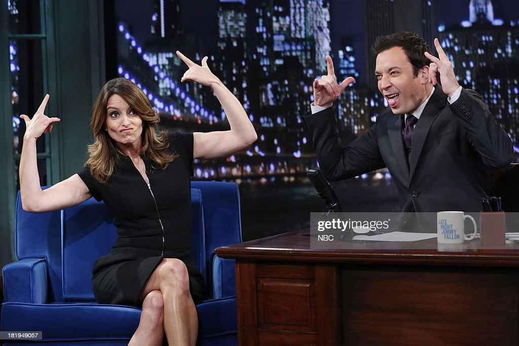 Tina Fey with host Jimmy Fallon during an interview on September 26, 2013--
