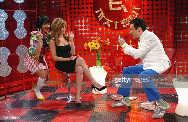 LIVE Episode 9 Air Date Pictured Maya Rudolph as Coco Jennifer Aniston Fred Armisen as Matsui during the 'Coco Matsui Super Show' skit on January 10...