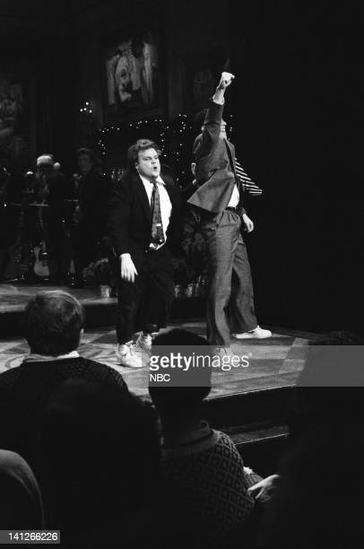 Chris Farley Adam Sandler as brothers during 'the Energy Brothers' skit on December 14 1991 Photo by Raymond Bonar/NBCU Photo Bank