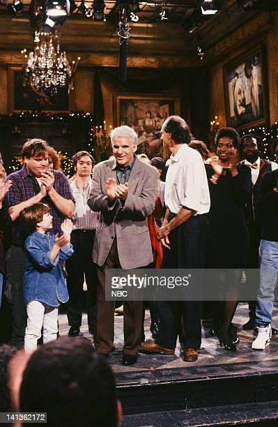 Chris Farley Steve Martin James Taylor Ellen Cleghorne onstage December 14 1991 Photo by Raymond Bonar/NBCU Photo Bank