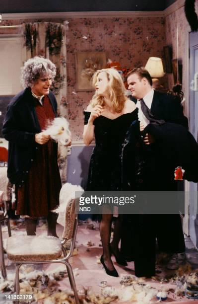 Steve Martin as Pugga Beth Cahill as Tracy Chris Farley as Timmy during 'Grandma Pugga' skit on December 14 1991 Photo by Raymond Bonar/NBCU Photo...