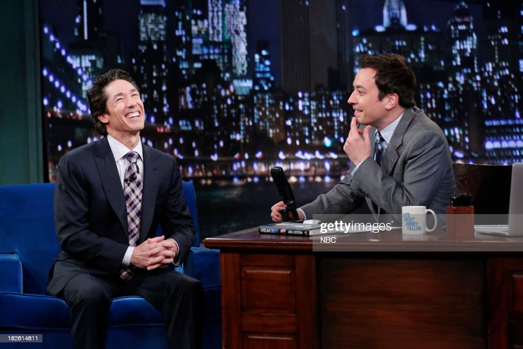 Joel Osteen with host Jimmy Fallon during an interview on October 1, 2013 --