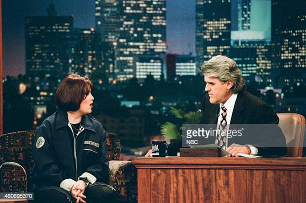 Musical guest Jann Arden during an interview with host Jay Leno on April 16 1996