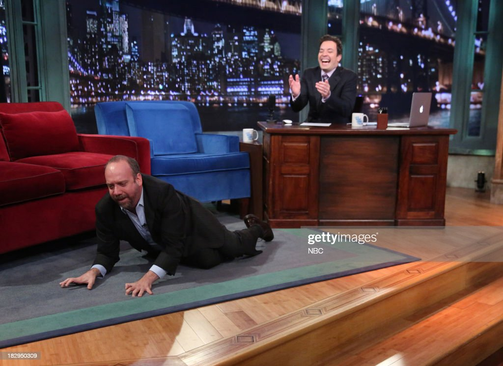 <a gi-track='captionPersonalityLinkClicked' href=/galleries/search?phrase=Paul+Giamatti&family=editorial&specificpeople=202498 ng-click='$event.stopPropagation()'>Paul Giamatti</a> with host Jimmy Fallon during an interview on Wednesday, October 2, 2013-- (Photo by: Lloyd Bishop/NBC/NBCU Photo Bank via Getty Images).