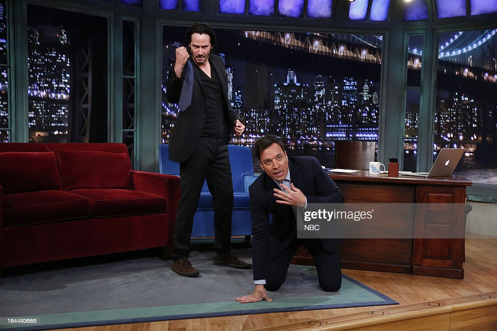 Actor Keanu Reeves during an interview with host Jimmy Fallon on October 11, 2013 --