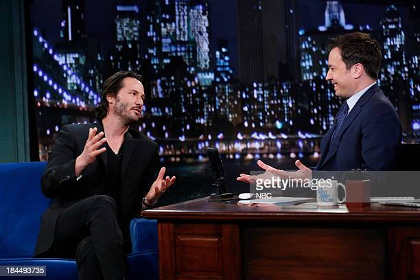 Actor Keanu Reeves during an interview with host Jimmy Fallon on October 11 2013