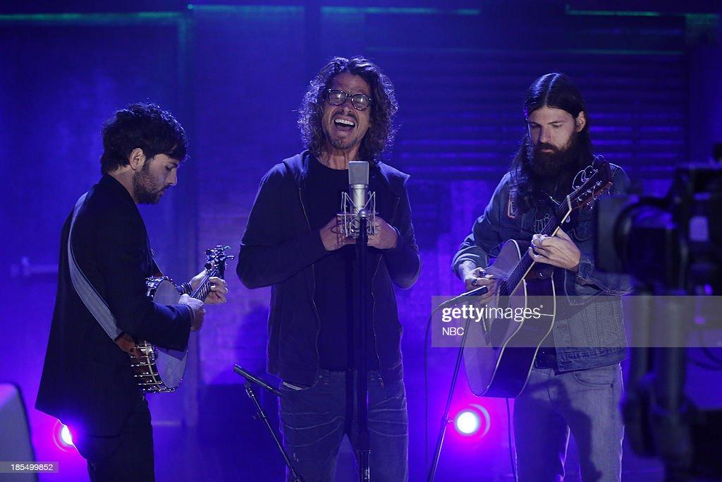 Scott Avett, Chris Cornell, Seth Avett of musical guests The Avett Brothers on Monday, October 21, 2013--