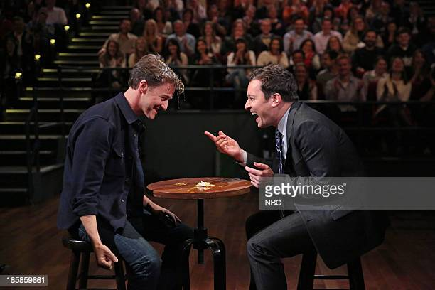Edward Norton and Jimmy Fallon play 'Egg Russian Roulette' on Thursday October 24 2013