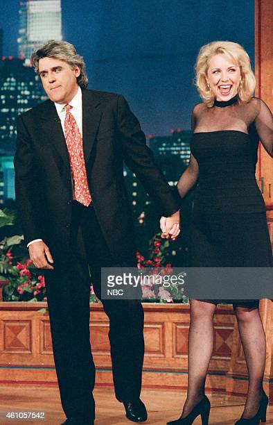 Host Jay Leno and actress Brett Butler on May 6 1996